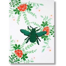 Postkaart met strijkapplicatie - bee