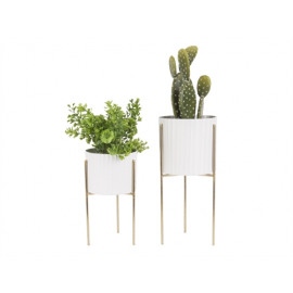 Bloempot Stilt wit / gouden standaard Present Time