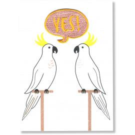 Postkaart met strijkapplicatie - yes