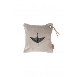 Kussen fluweel kraanvogel/krijt