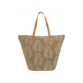 Strandtas met bladprint - groen