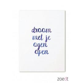 Postkaart Droom met je ogen open