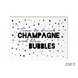 Postkaart Time to drink champagne and blow bubbles