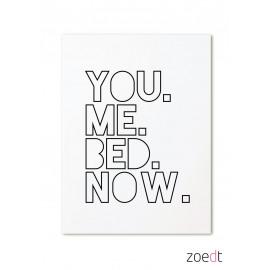 Postkaart You me, bed now