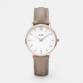 Cluse Minuit Rose gold White / hazelnut