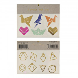 Tattoo Origami & gold foil figuren