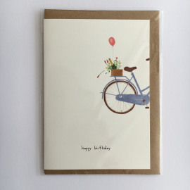 Wenskaart Happy birthday / bike