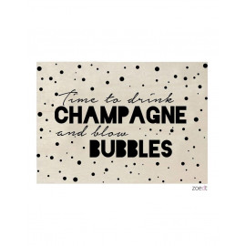 Houten kaart - Time to drink champagne and blow bubbles