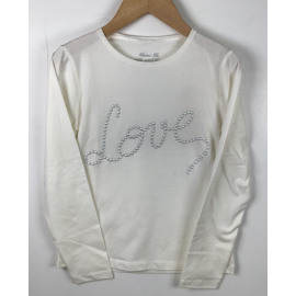 F2/PB/T.SHIRT ECRU LOVE PARELS