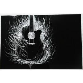 Burning Guitar Silver ingelijst