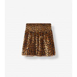 woven leopard burn out skirt