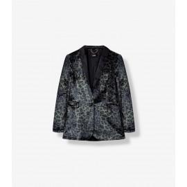 woven animal velvet blazer