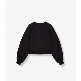knitted cropped sweater black