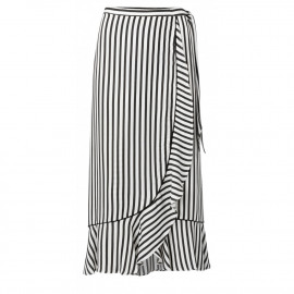 striped wrap skirt with ruffle