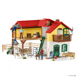 Farm With Stable And Animals