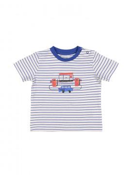 t-shirt little station streep blauw-ecru P'tit Filou  zomer 2019