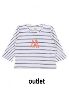 t-shirt A for apple streep blauw-ecru P'tit Filou  zomer 2019