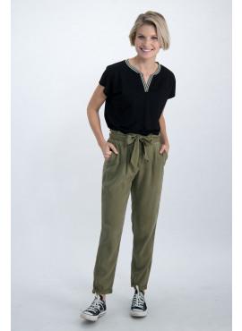 Kaki broek met tailleband