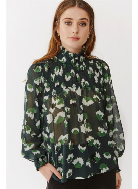 Aline Blouse Green Flower