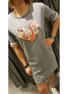Sweat dress van Black Rose - heart