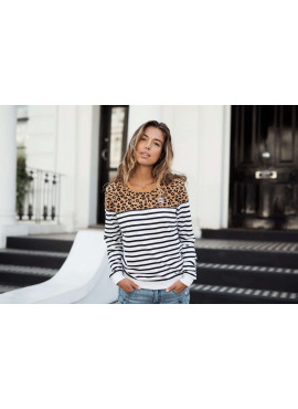 Sweater van Colourful Rebel - Stiped Leopard white 707