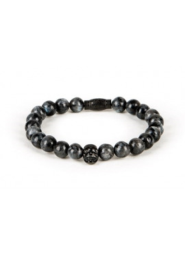 Armband van Black and Gold - 32 (8mm grey with black skull)