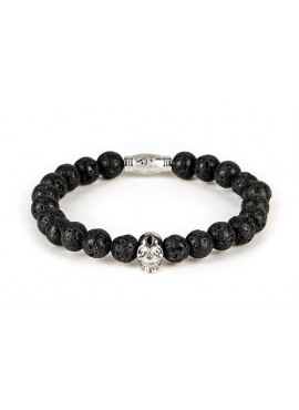 Armband van Black and Gold - Lava bracelet with silver skull