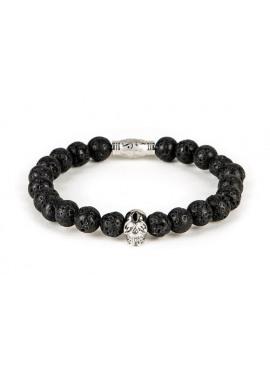 Armband van Black and Gold - Lava bracelet with silver skull