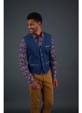 waistcoat washed indigo -92.01.133