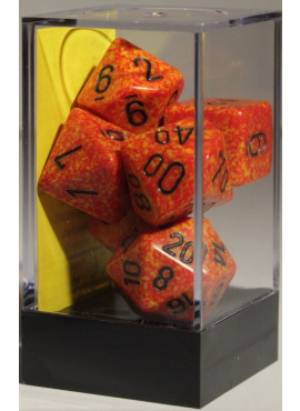 Speckled Poly Dice: Fire