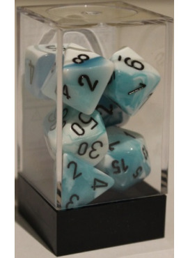 Gemini Poly Dice: Teal & White