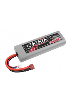 Team Corally - Power Racing 30C 4000 mAh 7,4V Competition Li-Po Battery Pack, Stick Hardcase 12Awg Wire T-Plug Connector