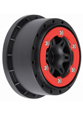 Split Six 2.2/3.0 Red/Black Bead-Loc Front Wheels (2) f