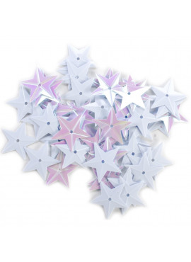 Star Sequins 18mm 50/Pkg White Iridescent