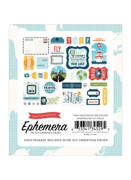 Go, See, Explore Ephemera Cardstock Die-Cuts