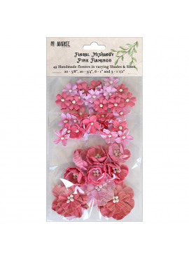 Floral Mixology Paper Flowers Assorted Sizes 49/Pkg Pink Flamingo