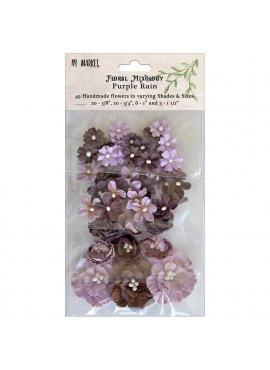 Floral Mixology Paper Flowers Assorted Sizes 49/Pkg Purple Rain