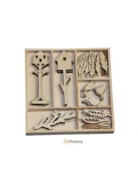 Birdhouses and birds wood ornaments
