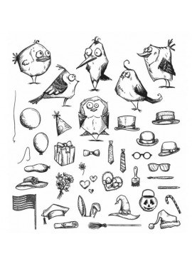 Stampers anonymous - Cling stamp - Mini bird crazy & things
