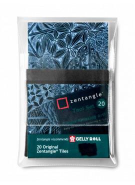 20 Black Zentangle® Tiles, 89 x 89 mm.