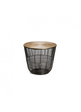 SIMLA SIDE TABLE METAL BLACK WITH GOLDEN TOP