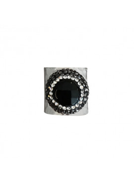 Bohemian ring black pearl