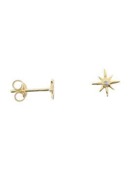 Small flash star white one twinkle stud