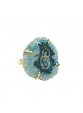 Bohemian ring gold blue agate stone