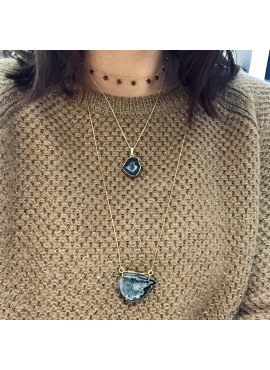 Short bohemian necklace gold grey agate stone