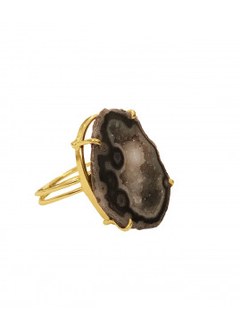 Cave ring gold grey agate stone