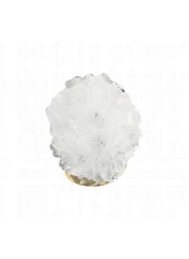 Bohemian ring gold white agate stone