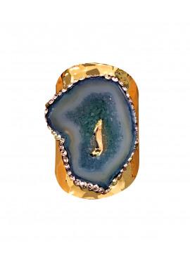 Bohemian ring blue agate stone