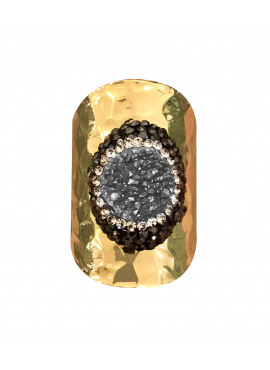 Bohemian ring grey strass