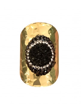Bohemian ring black strass